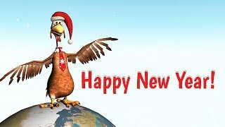 Funny Happy New Year 2017 from Rooster