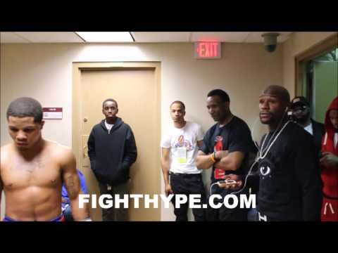 FLOYD MAYWEATHER BEHIND-THE-SCENES GIVING GERVONTA DAVIS FINAL INSTRUCTIONS RIGHT BEFORE FIGHT