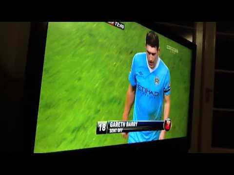 Gareth Barry red Card vs Liverpool
