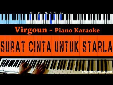 Virgoun - Surat Cinta Untuk Starla - LOWER Key Piano Karaoke - Indonesian Song