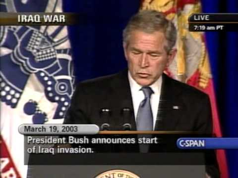 Image result for president bush announces an attack on iraq in 2003
