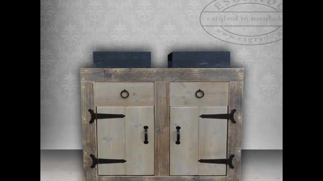 Impressie steigerhouten wastafels badkamermeubels van esgrado youtube - Badkamer meubels ...