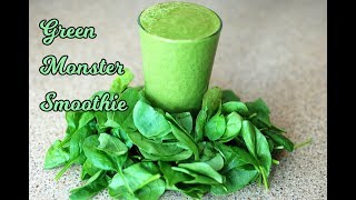 Green Monster Smoothie (Oats+spinach+yogurt+flax seeds) for Busy People