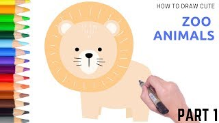 How to Draw Zoo Animals Easily Part 1 | Follow Along Drawing Lesson for Kids
