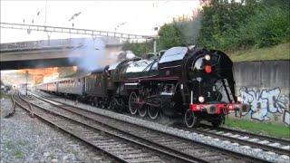 (RARE) Steam locomotive 141.R.1244 Mikado at Kloten, Switzerland