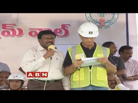 AP CM Chandrababu Inaugurates Diaphragm Wall Pylon at Polavaram Project | ABN Telugu