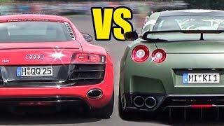 Nissan GT-R R35 VS AUDI R8 V10 - DRAG RACE!