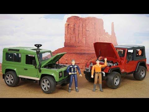BRUDER Cравнение двух внедорожников Land Rover и Jeep Обзор игрушечных машин для детей. Bruder Toys