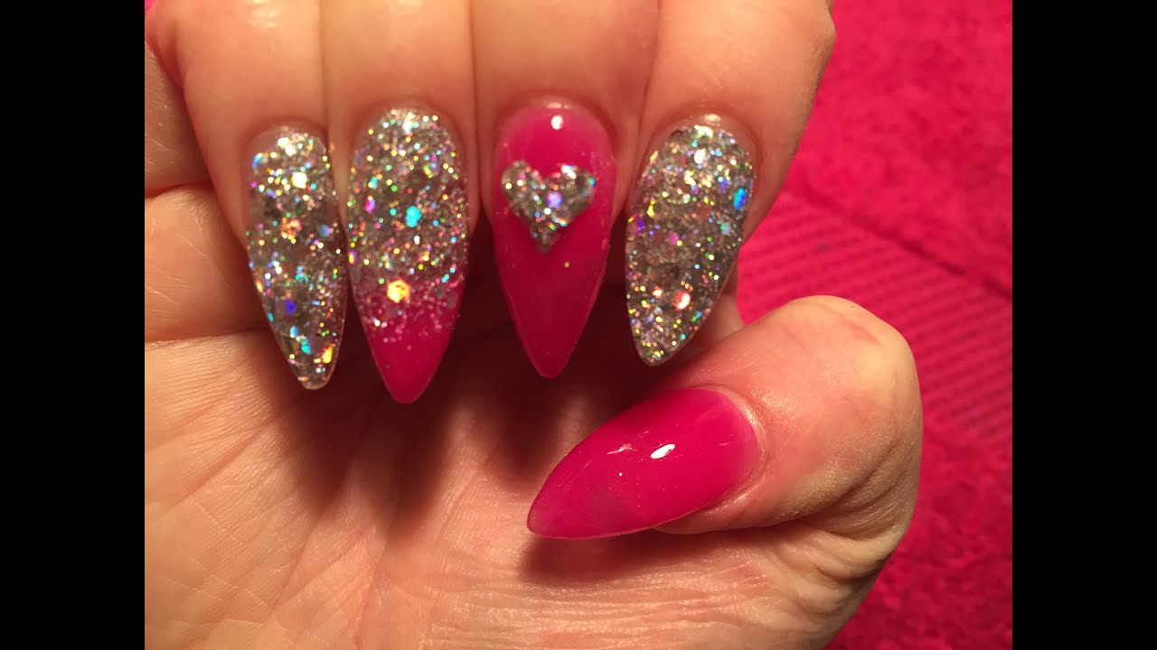 Acrylic Nails Pink And Silver