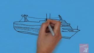 bé vẽ con tàu - bé tập vẽ phương tiện đi lại