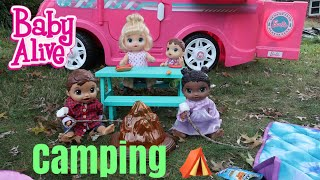 BABY ALIVES Camping Routine baby alive videos