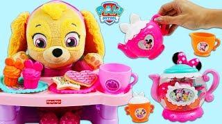 Paw Patrol Baby Skye Has a Tea Party with Minnie Mouse Terrific Tea Pot Playset!