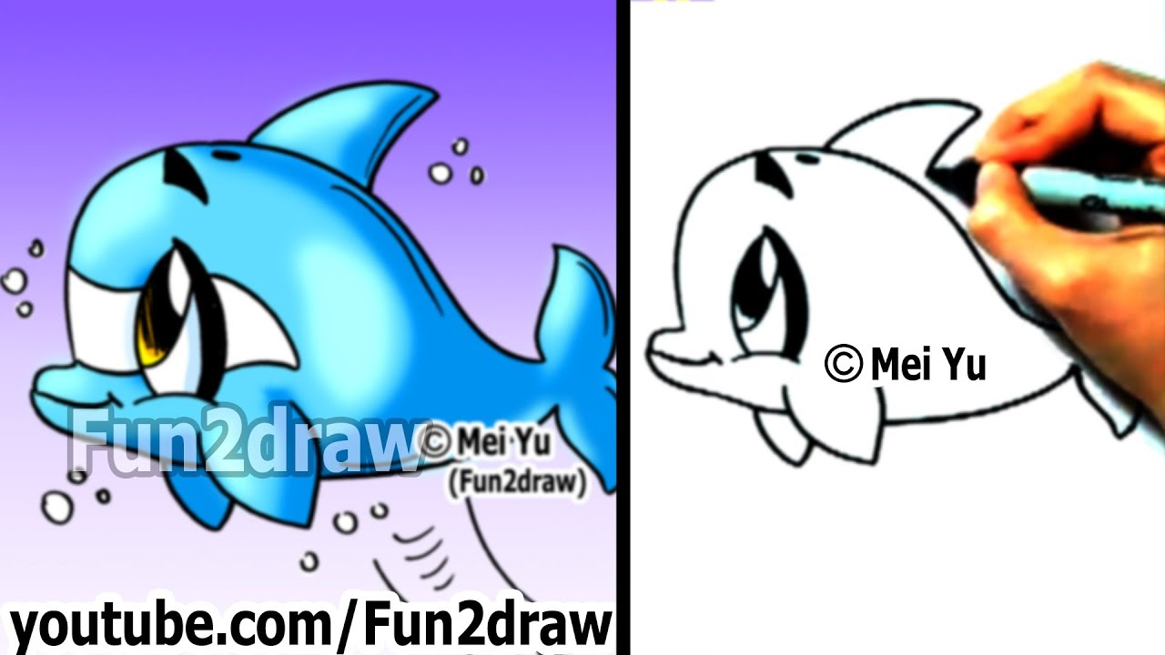 How to draw a cartoon dolphin in 2 min cute drawings for Fun to draw cute animals