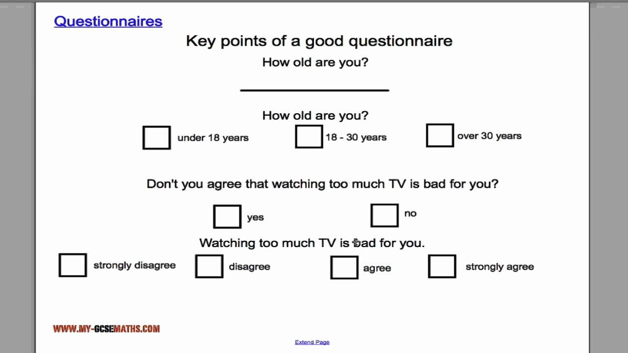 Questionnaires Youtube