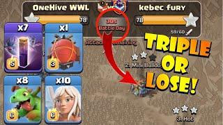 WEIRDEST ARMY EVER?! MUST TRIPLE OR LOSE! OneHive vs Kebec Fury - WWL - TH13 Attack Strategies