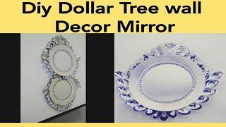DIY UNIQUE WALL DECOR MIRROR/ GLAM INEXPENSIVE DOLLAR TREE MIRROR/ SILVER ACCENT WALL MIRROR