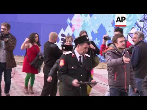 Pussy Riot and their supporters attacked by Cossack militia CONTAINS PROFANITIES thumbnail