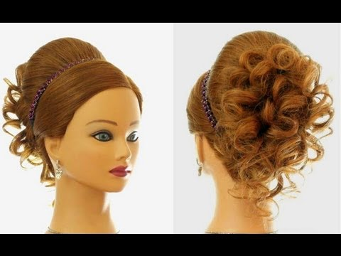 Wedding prom hairstyle for long hair. Updo tutorial - YouTube