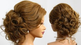 Bridal prom updo. Hairstyle for long  medium hair