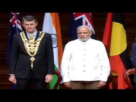 PM Modi at the Civic Reception hosted by Premier of Queensland & Mayor of Brisbane