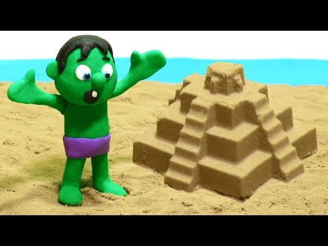 Paw Patrol & Hulk Playing in the Sand Castles - Superhero Babies Cartoons Play Doh Stop Motion
