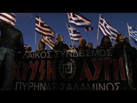 Members of Greece's neo-Nazi party protest against immigration