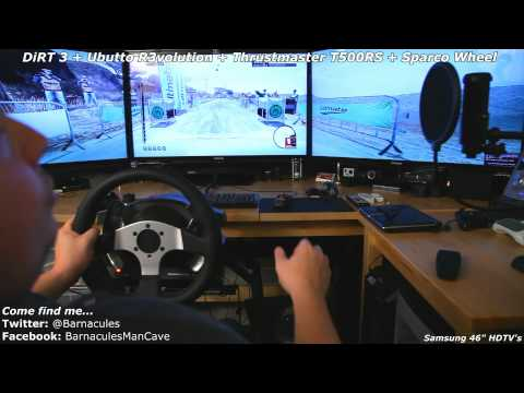 Playing DiRT 3 on Obutto R3volution. Thrustmaster T500RS. Sparco Wheel and 46