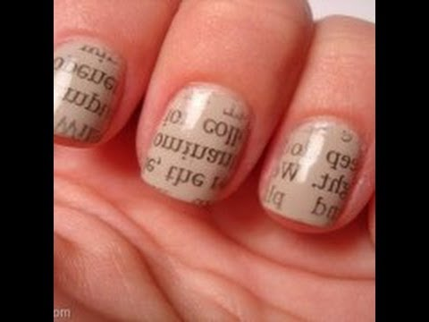 Tutorial para decorar uñas con letras periódico. MUY FÁCIL (uñas decoradas)