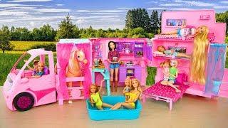 Barbie Sisters' Deluxe Camper Unboxing & Setup! Boneka Barbie Kemping Boneca Barbie Campista
