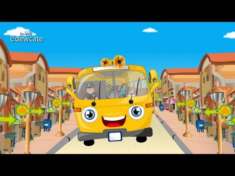 Edewcate english rhymes | Wheels on the Bus go Round and Round Nursery Rhyme