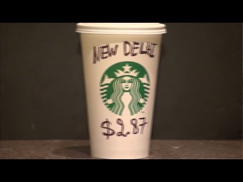 The price of a starbucks latte in different countries