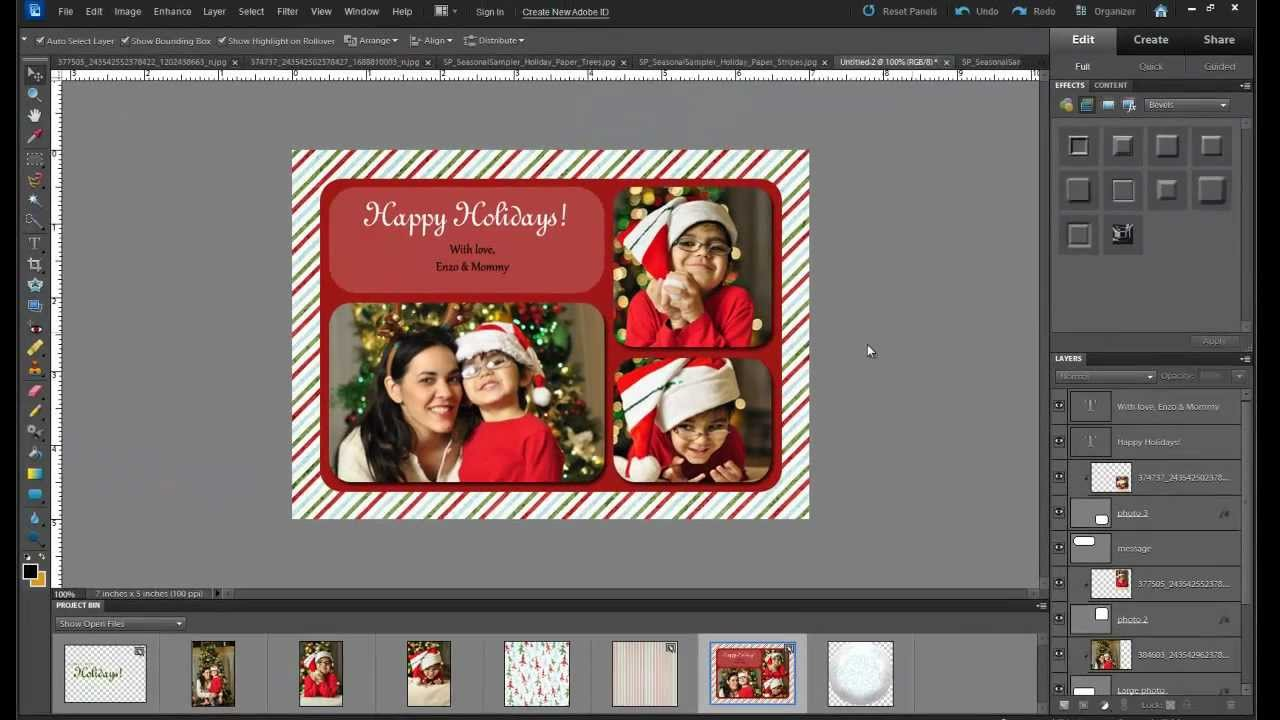 Tutorial how to make a custom holiday photo card with photoshop elements youtube for Photoshop christmas card ideas