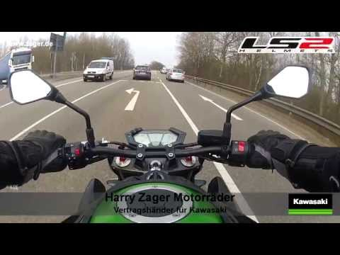 Kawasaki Z800 German Autobahn  first ride  LS2 Helmets Test GoPro Hero2 Akrapovic Sound