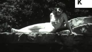 1940s Bathing Beauties, USA, Vintage Swimwear, Pinup Girls, Archive Footage