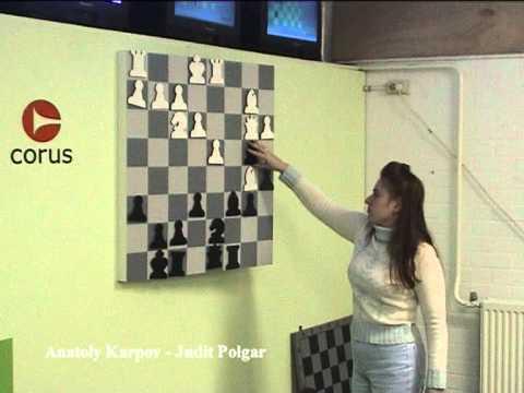 Judit Polgar analyzing her win over Karpov in Wijk aan Zee in 2003 - Part1