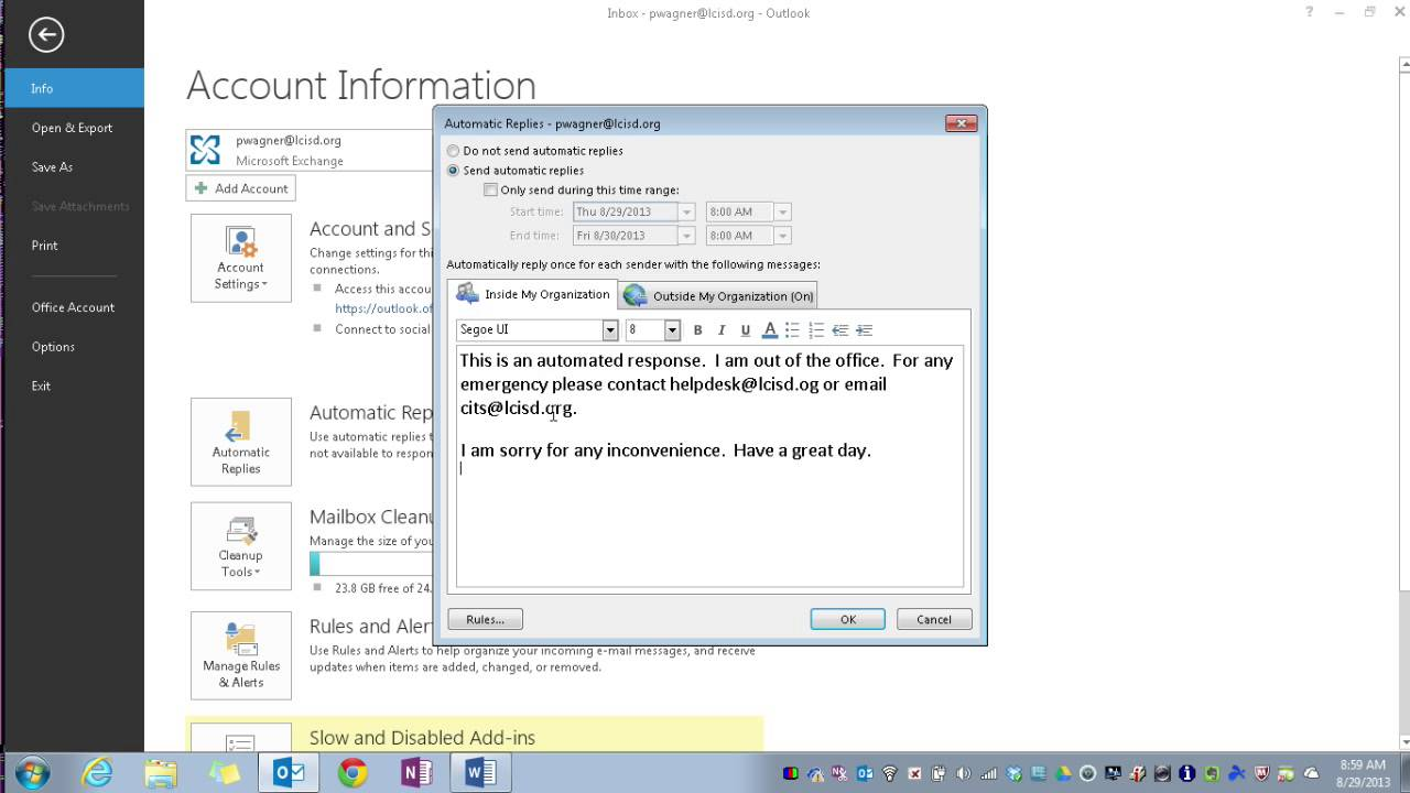 Outlook 2013 setting up automatic out of office replies youtube - Set up out of office in outlook ...