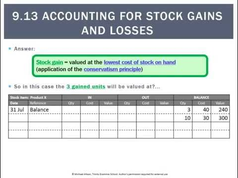 9.13 Accounting for stock gains and losses