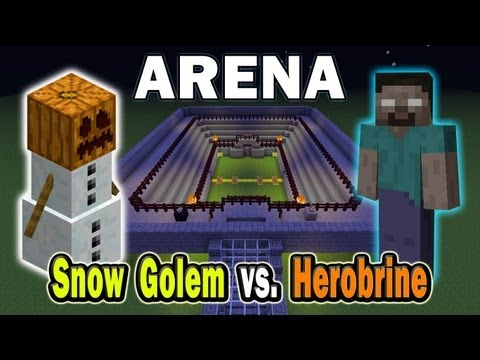 Minecraft Arena Battle Snow Golem vs. Herobrine