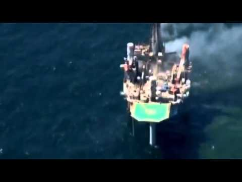 No sheen seen near burning Gulf rig