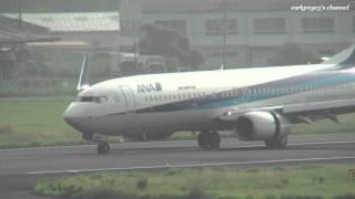 宮崎空港 ANA (Air Nippon) Boeing 737-800 JA56AN 着陸 2011.7.24