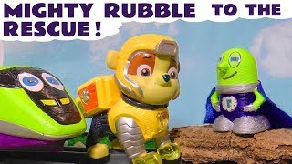 Paw Patrol Mighty Pups Rubble helps funny Funlings Super Funling rescue the Funling Toy Train TT4U