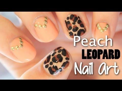Studded Peach and Leopard Nail Art