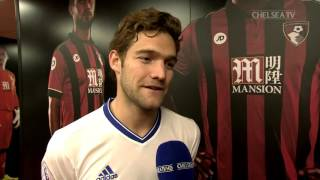 Marcos Alonso reacts to our 3-1 win over Bournemouth and his amazing free kick