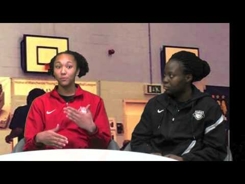 Barking Abbey players discuss the new women's league