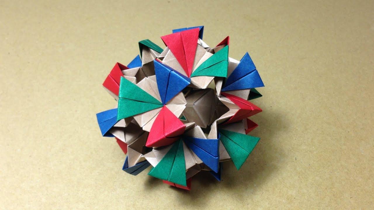 すべての折り紙 両面折り紙 折り方 : がみ)】 薗部式くす玉の折り ...