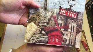 Napkin & book page postcards show & tell