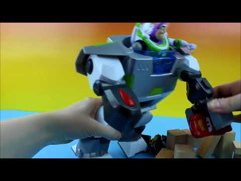 Disney Pixar Toy Story Buzz Lightyear Turbo Suit saves Disney Cars Lightning McQueen from the Lemons