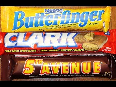 Nestle Butterfinger. Hershey's 5th Avenue & NECCO Clark Bar Review