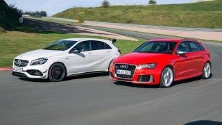2017 Mercedes A45 AMG vs 2016 Audi RS3 - acceleration & sound comparison