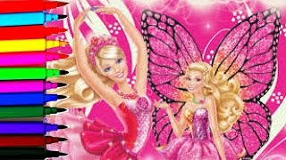 SPARKLE BARBIE Coloring Book Pages Barbie Mariposa Sparkle Fairy Disney Brilliant Color Show